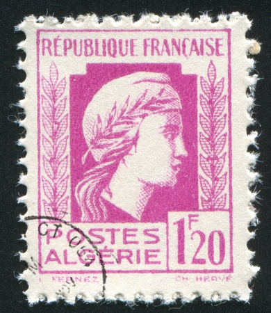 marianne: ALGERIA CIRCA 1944: stamp printed by Algeria, shows Marianne, circa 1944 Stock Photo