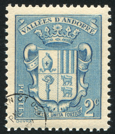 ANDORRA - CIRCA 1938: stamp printed by Andorra, shows arms, circa 1938. photo