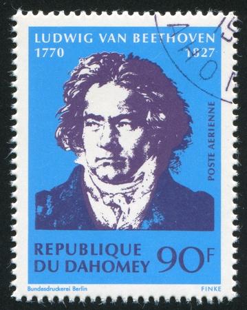 beethoven: DAHOMEY - CIRCA 1968: stamp printed by Dahomey, shows  Ludwig van Beethoven, circa 1968. Editorial