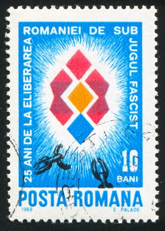ROMANIA - CIRCA 1969: stamp printed by Romania, shows Broken Chain, circa 1969 Stock Photo - 10839488