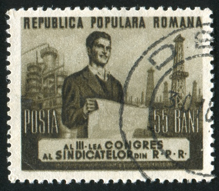 ROMANIA - CIRCA 1953: stamp printed by Romania, shows Worker, circa 1953 Stock Photo - 10838756