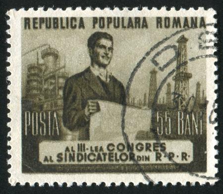 ROMANIA - CIRCA 1953: stamp printed by Romania, shows Worker, circa 1953 Stock Photo - 10838756