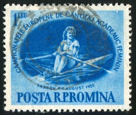 sculling: ROMANIA - CIRCA 1955: stamp printed by Romania, shows Sculling, circa 1955