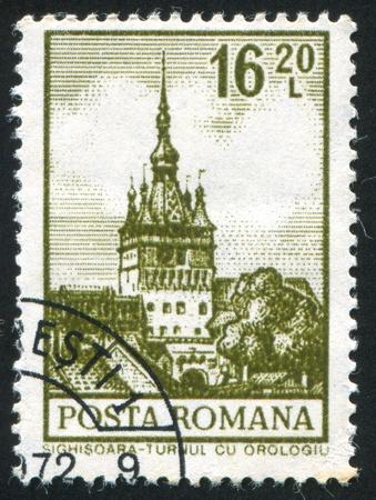ROMANIA - CIRCA 1972: stamp printed by Romania, shows Clock Tower, Sighisoara, circa 1972 photo