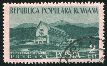 ROMANIA - CIRCA 1954: stamp printed by Romania, shows Predeal, circa 1954 Stock Photo - 10839486