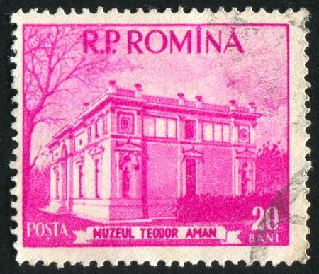 theodor: ROMANIA - CIRCA 1955: stamp printed by Romania, shows Theodor Aman Museum, circa 1955