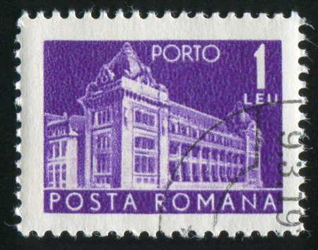 window seal: ROMANIA - CIRCA 1967: stamp printed by Romania, shows General Post Office, circa 1967