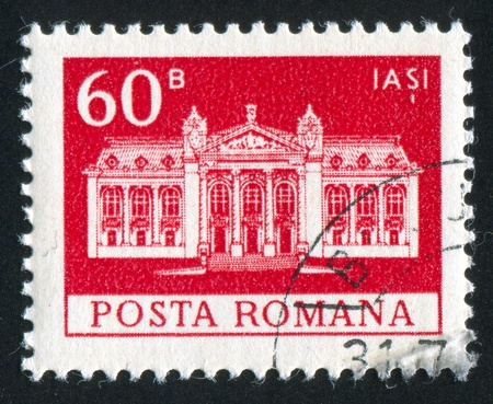 ROMANIA - CIRCA 1973: stamp printed by Romania, shows National Theater, Iasi, circa 1973 Stock Photo - 10839348