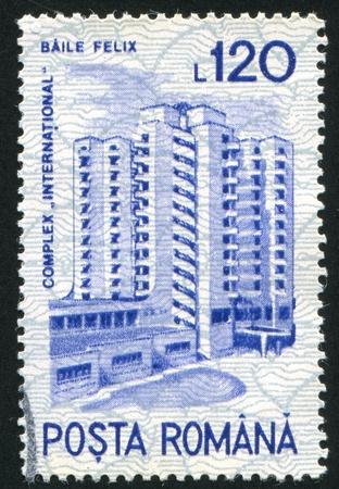 baile: ROMANIA - CIRCA 1991: stamp printed by Romania, shows International Hotel, Baile Felix, circa 1991 Stock Photo