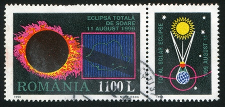ROMANIA - CIRCA 1998: stamp printed by Romania, shows Total Eclipse of the Sun,  circa 1998 Stock Photo - 10839981