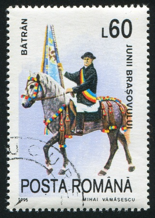 nostril: ROMANIA - CIRCA 1995: stamp printed by Romania, shows Riders representing municipal districts of Brasov, Batran, circa 1995