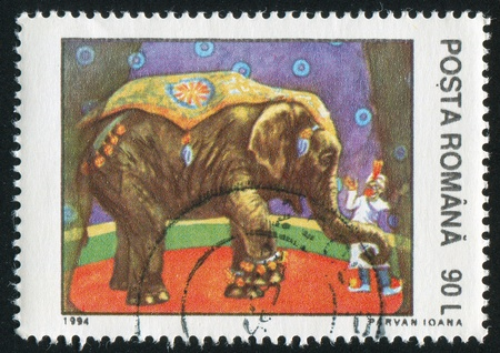 ROMANIA - CIRCA 1994: stamp printed by Romania, shows Circus Animal Acts, Elephant, circa 1994 photo