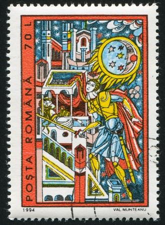 madman: ROMANIA - CIRCA 1994: stamp printed by Romania, shows Romanian Legends, Calin the Madman, circa 1994