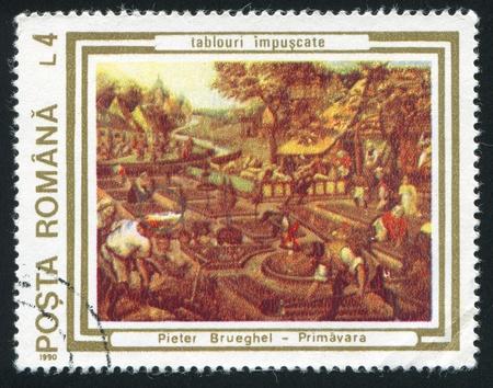ROMANIA - CIRCA 1990: stamp printed by Romania, shows Springtime by Peter Brueghel, the Elder, circa 1990 Stock Photo - 10838673