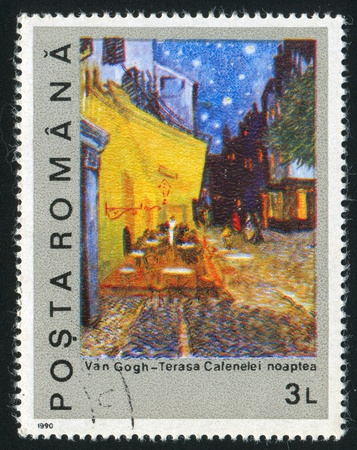window seal: ROMANIA - CIRCA 1990: stamp printed by Romania, shows Night on the Coffee Terrace by Vincent Van Gogh, circa 1990 Editorial