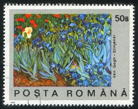 van gogh: ROMANIA - CIRCA 1990: stamp printed by Romania, shows Field of Irises by Vincent Van Gogh, circa 1990
