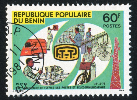 BENIN CIRCA 1979: stamp printed by Benin, shows Mail Services, circa 1979 Stock Photo - 10892243