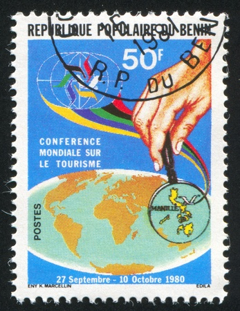 BENIN CIRCA 1980: stamp printed by Benin, shows Philippines under Magnifier, circa 1980 photo
