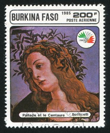 pallas: BURKINA FASO CIRCA 1985: stamp printed by Burkina Faso, shows Pallas and the Centaur, Botticelli, circa 1985