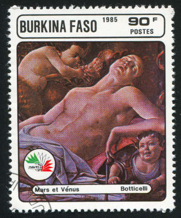 BURKINA FASO CIRCA 1985: stamp printed by Burkina Faso, shows Mars and Venus, Botticelli, circa 1985 photo