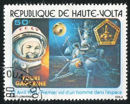 gagarin: BURKINA FASO CIRCA 1978: stamp printed by Burkina Faso, shows Yuri Gagarin and moon landing, circa 1978