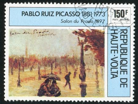 picasso: BURKINA FASO CIRCA 1975: stamp printed by Burkina Faso, shows Prado, Picasso, circa 1975
