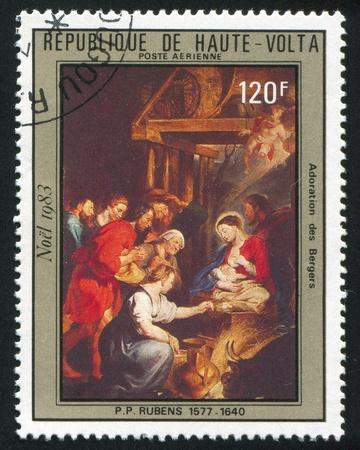 BURKINA FASO CIRCA 1983: stamp printed by Burkina Faso, shows Adoration of the Shepherds, Rubens, circa 1983 photo