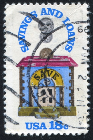 accumulations: UNITED STATES - CIRCA 1981: stamp printed by United States of America, shows bank, crica 1981