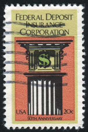 UNITED STATES - CIRCA 1984: stamp printed by United States of America, shows symbol of dollar and pillar, circa 1984 photo