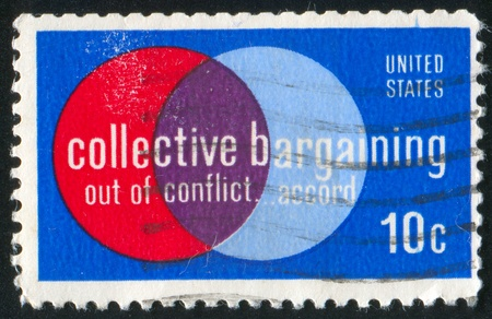 reciprocity: UNITED STATES - CIRCA 1975: stamp printed by United States of America, shows circles, circa 1975 Stock Photo