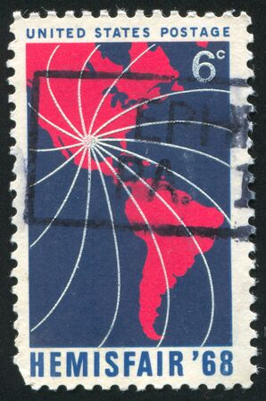 UNITED STATES - CIRCA 1968: stamp printed by United States of America, shows map of North and South America, circa 1968 photo