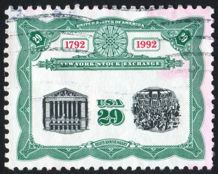 UNITED STATES - CIRCA 1992: stamp printed by United States of America, shows building of stock exchange, circa 1992 photo