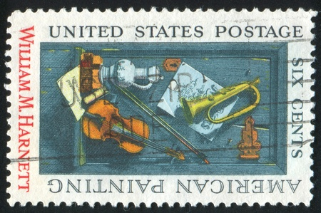 UNITED STATES - CIRCA 1969 : stamp printed by United States of America, shows picture by William Harnett, circa 1969 photo