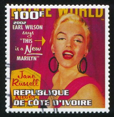 IVORY COAST - CIRCA 2002: stamp printed by Ivory Coast, shows Marilyn Monroe, circa 2002.