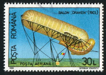 elongated: ROMANIA - CIRCA 1993: stamp printed by Romania, shows German balloon, Draken, circa 1993