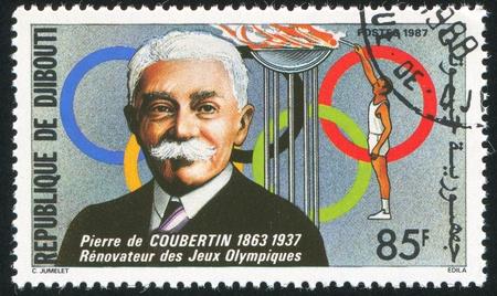 DJIBOUTI - CIRCA 1987: stamp printed by Djibouti, shows Pierre de Coubertin, circa 1987 Stock Photo - 10979581