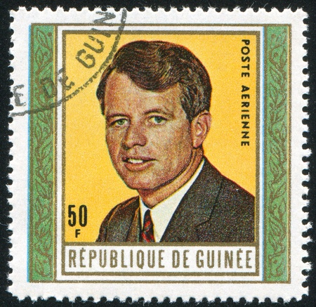 robert: GUINEA - CIRCA 1968:   stamp printed by Guinea,  shows Robert Kennedy , circa 1968. Editorial