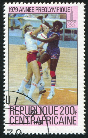 CENTRAL AFRICAN REPUBLIC 1979: stamp printed by Central African Republic, shows Basketball, Moscow 80 Emblem, circa 1979 Stock Photo - 11050074