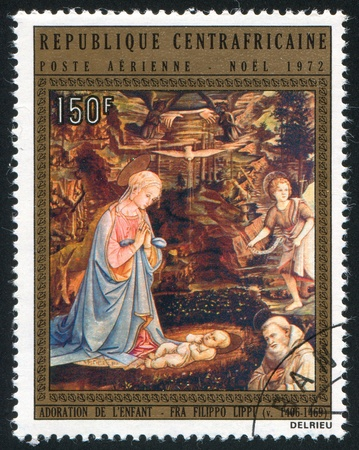 CENTRAL AFRICAN REPUBLIC 1972: stamp printed by Central African Republic, shows Adoration of the Child, by Fra Filippo Lippi, circa 1972 photo