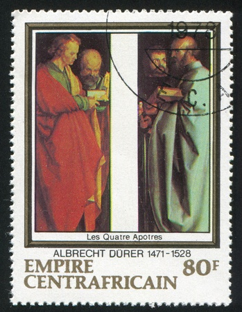 durer: CENTRAL AFRICAN REPUBLIC 1978: stamp printed by Central African Republic, shows The Four Apostles, by Durer, circa 1978