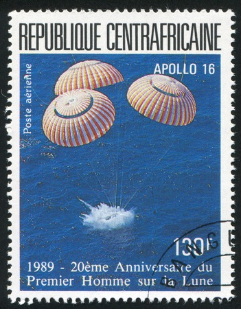 CENTRAL AFRICAN REPUBLIC 1989: stamp printed by Central African Republic, shows Apollo 16, circa 1989 Stock Photo - 11049908