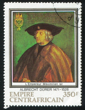 durer: CENTRAL AFRICAN REPUBLIC 1978: stamp printed by Central African Republic, shows Emperor Maximilian I, by Durer, circa 1978 Editorial