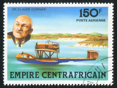 hydroplane: CENTRAL AFRICAN REPUBLIC 1978: stamp printed by Central African Republic, shows Claude Dornier and hydroplane, circa 1978