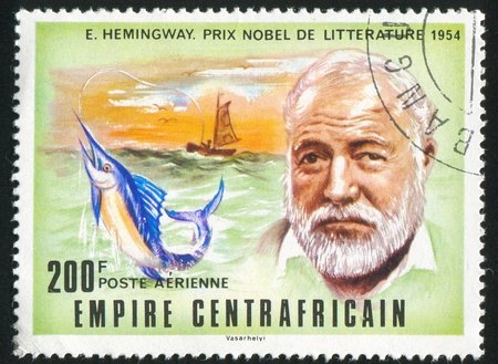 ernest hemingway: CENTRAL AFRICAN REPUBLIC - CIRCA 1977: stamp printed by Central African Republic, shows Nobel Prize, Ernest Hemingway, circa 1977