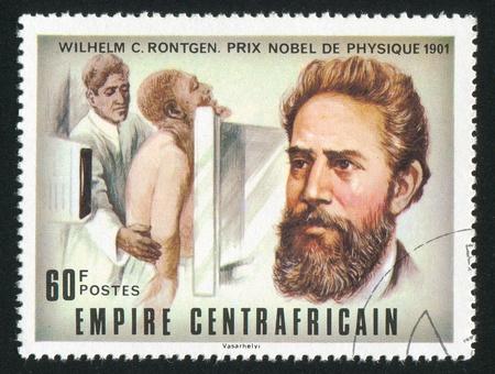 roentgen: CENTRAL AFRICAN REPUBLIC - CIRCA 1977: stamp printed by Central African Republic, shows Nobel Prize, Wilhelm C. Roentgen, circa 1977