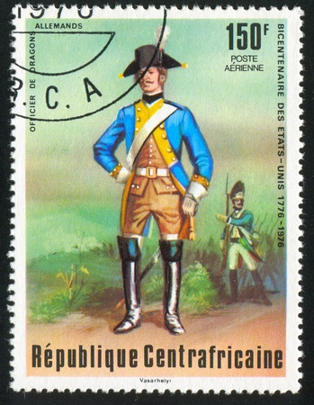 CENTRAL AFRICAN REPUBLIC - CIRCA 1976: stamp printed by Central African Republic, shows German dragoon, circa 1976 photo