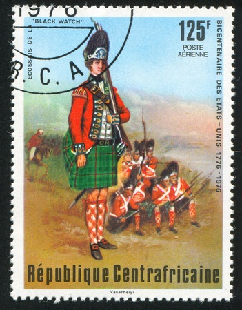 "vintage riffle: CENTRAL AFRICAN REPUBLIC - CIRCA 1976: stamp printed by Central African Republic, shows Scottish ""Black Watch"", circa 1976"
