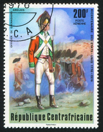 vintage riffle: CENTRAL AFRICAN REPUBLIC - CIRCA 1976: stamp printed by Central African Republic, shows British grenadier, circa 1976