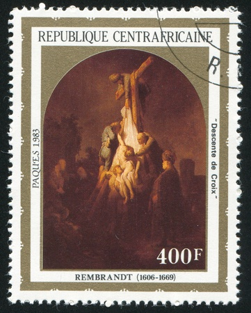 CENTRAL AFRICAN REPUBLIC - CIRCA 1983: stamp printed by Central African Republic, shows Rembrandt Painting, Descent from the Cross, circa 1983