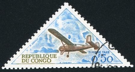 CONGO CIRCA 1961: stamp printed by Congo, shows Broussard Plane, circa 1961 Stock Photo - 11050069